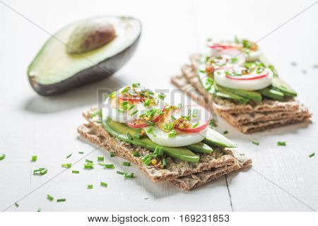 Spring Sandwich With Avocado, Chive And Eggs