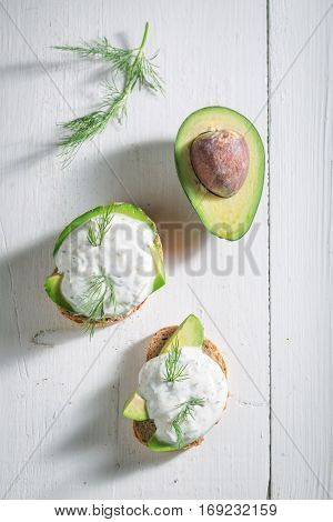 Healthy Sandwich With Avocado, Dill And Tzatziki Sauce