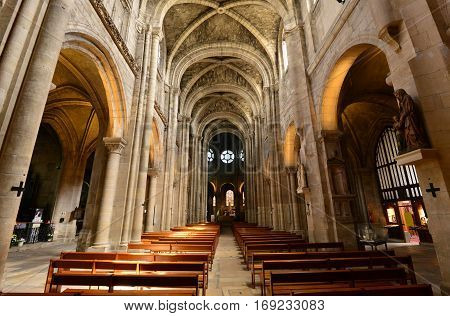 Poissy; France - may 2 2016 : the gothic collegiate church