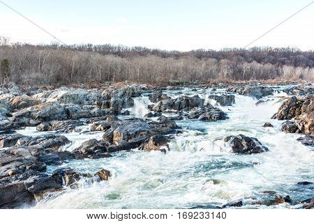 Great falls waterfall rapids in Virginia and Maryland