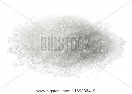 Heap of refined sugar on white background poster