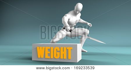 Cutting Weight and Cut or Reduce Concept 3D Illustration Render