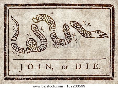 Join or die Benjamin Franklin's warning to British colonies in America from The Pennsylvania Gazette ca 1754.