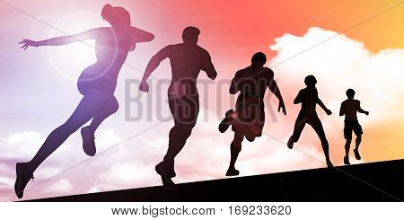 Sunset Silhouette of Men and Women Running Uphill Concept 3D Illustration Render