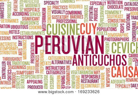 Peruvian Food and Cuisine Menu Background with Local Dishes