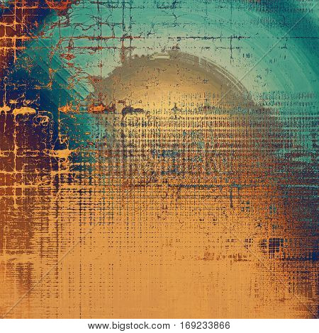 Retro style graphic composition on textured grunge background. With different color patterns: yellow (beige); brown; blue; red (orange); gray; cyan