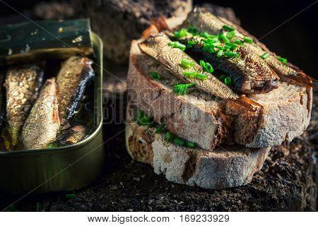 Tasty Sandwich Wirh Sprats With On The Wholegrain Bread