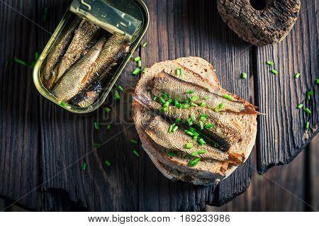 Healthy Sandwich Wirh Sardines With On The Wholegrain Bread