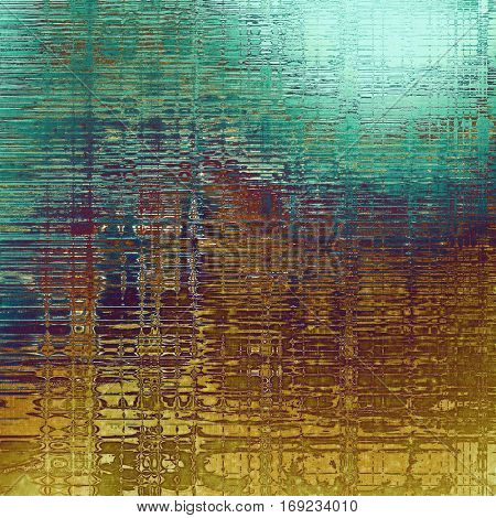 Grunge background with delicate aged texture. Antique backdrop with retro vintage elements and different color patterns: yellow (beige); brown; green; blue; purple (violet); cyan