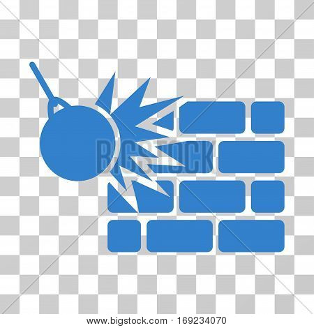 Destruction icon. Vector illustration style is flat iconic symbol cobalt color transparent background. Designed for web and software interfaces.