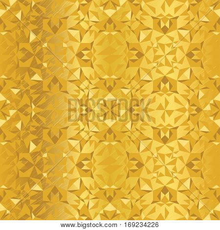 Vector Golden Foil Abstract Kaleidoscope Triangles Grunge Foil Texture Seamless Pattern Background. Great for elegant gold fabric, cards, wedding invitations, wallpaper, floor, kitchen tile. Surface pattern design.