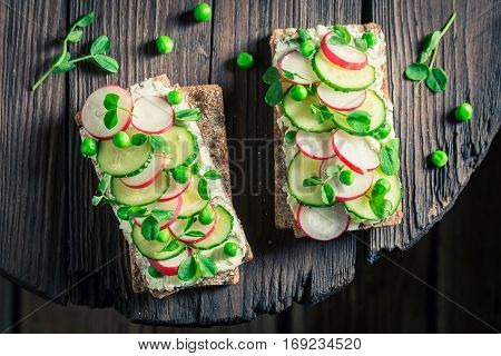 Healthy Sandwich With Fromage Cheese, Avocado And Crunchy Bread