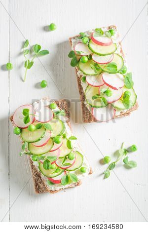 Bio Sandwich With Crunchy Bread, Fromage Cheese And Avocado