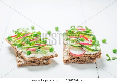 Tasty Sandwich With Fromage Cheese, Avocado And Crunchy Bread