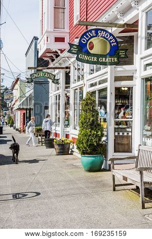 La Conner, USA - April 21, 2016: Shops and architecture in historical village in Washington State