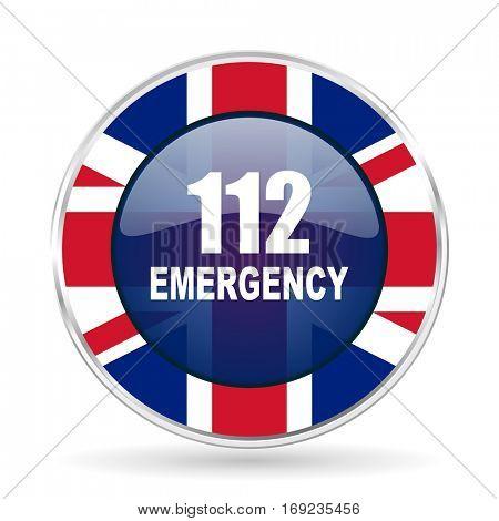 number emergency 112 british design icon - round silver metallic border button with Great Britain flag