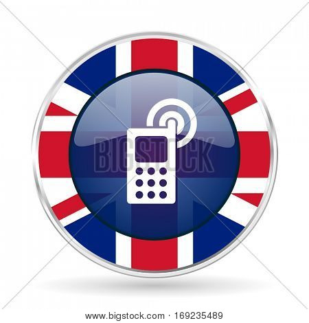Phone british design vector icon. Round silver metallic border button with Great Britain flag in eps 10.