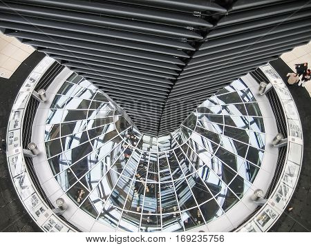 Berlin, Germany - December 16, 2005: Bundestag parliament modern glass architecture looking down