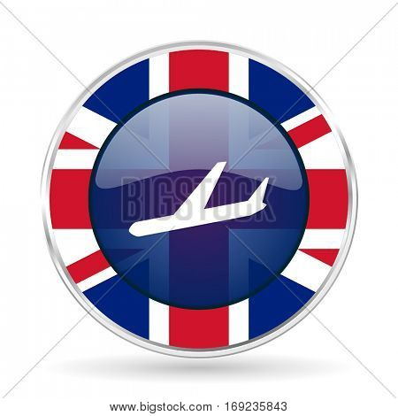 Arrivals british design vector icon. Round silver metallic border button with Great Britain flag in eps 10.