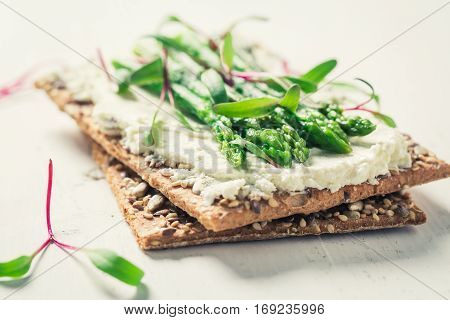 Healthy Sandwich With Asparagus And Fromage Cheese