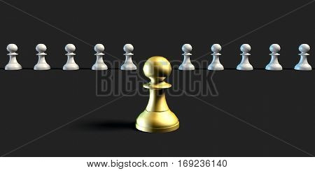 Effective Leader and Management Business Chess Strategy Concept 3D Illustration Render