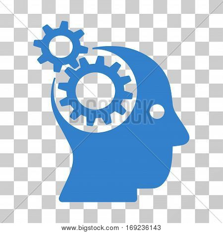 Intellect Gears icon. Vector illustration style is flat iconic symbol cobalt color transparent background. Designed for web and software interfaces.