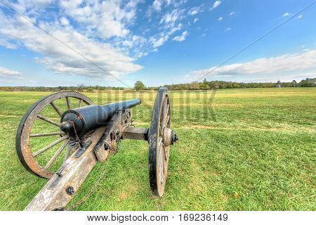 Old cannon in Manassas National Battlefield Park in Virginia where the Bull Run battle was fought
