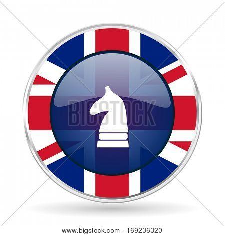 chess horse british design icon - round silver metallic border button with Great Britain flag