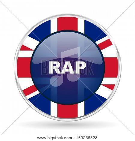 rap music british design icon - round silver metallic border button with Great Britain flag