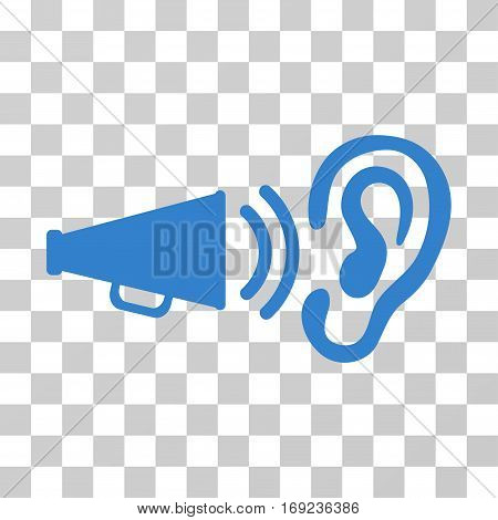 Listen Sound icon. Vector illustration style is flat iconic symbol cobalt color transparent background. Designed for web and software interfaces.