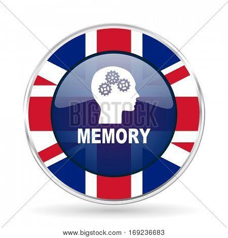 memory british design icon - round silver metallic border button with Great Britain flag