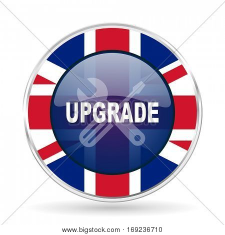 upgrade british design icon - round silver metallic border button with Great Britain flag