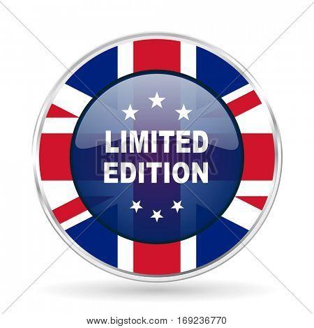 limited edition british design icon - round silver metallic border button with Great Britain flag