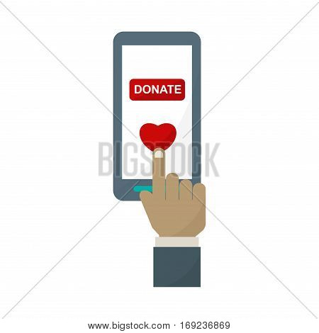 Donate phone monitor icon vector. Internet technology business monitor display. Desktop device blank communication. Digital network telecommunication.
