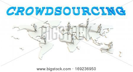 Crowdsourcing Global Business Abstract with People Standing on Map 3D Illustration Render