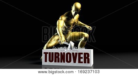 Eliminating Stopping or Reducing Turnover as a Concept 3D Illustration Render