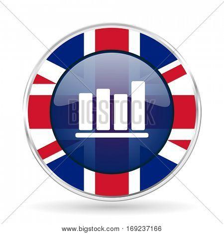 bar chart british design icon - round silver metallic border button with Great Britain flag.