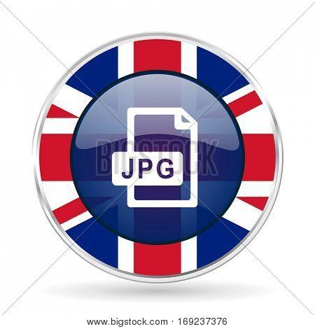 jpg file british design icon - round silver metallic border button with Great Britain flag.