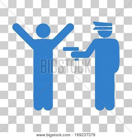 Police Arrest icon. Vector illustration style is flat iconic symbol cobalt color transparent background. Designed for web and software interfaces.