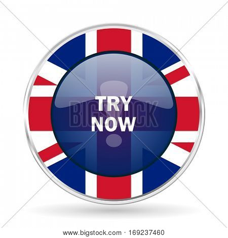 try now british design icon - round silver metallic border button with Great Britain flag