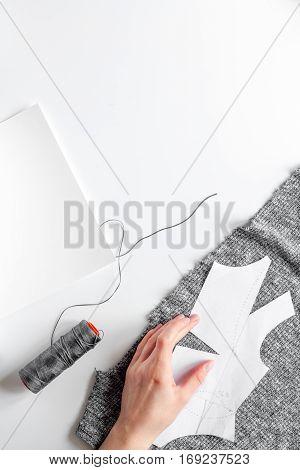 desktop designer clothes with tools top view mock up.