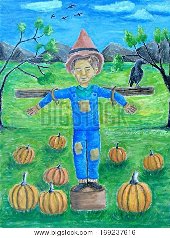 Scarecrow boy and pumpkins on autumn season painting