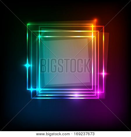 Squares banner on colorful abstract background, stock vector