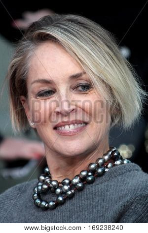 LOS ANGELES - JAN 6:  Sharon Stone at the Jeff Bridges Hand and Foot Print Ceremony at TCL Chinese Theater IMAX on January 6, 2017 in Los Angeles, CA