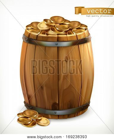 Treasure, wooden barrel with gold coins. 3d vector icon