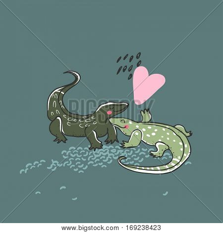 monitor lizards in love