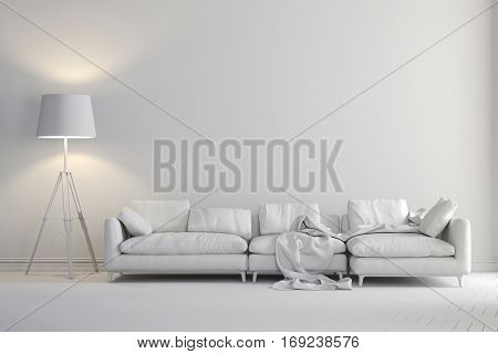 3d render of beautiful clean interior with couch and floor lamp