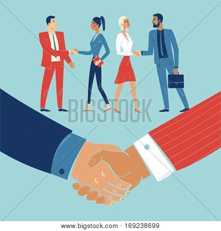 Handshake agreement between teammates and colleagues from different companies.  Business deal between two companies.