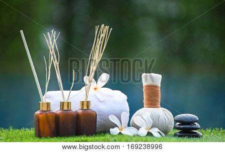 Spa treatment and product for hand and foot spa with flowers, Thailand. Greenery tone 2017, soft and select focus