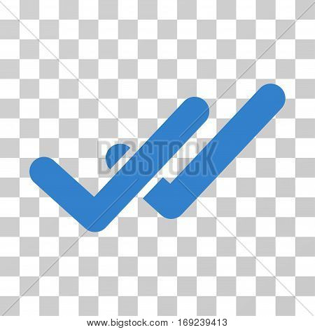 Validation icon. Vector illustration style is flat iconic symbol cobalt color transparent background. Designed for web and software interfaces.